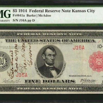 Fr. 841a. 1914 $5 Federal Reserve Note. Kansas City. PMG Very Fine