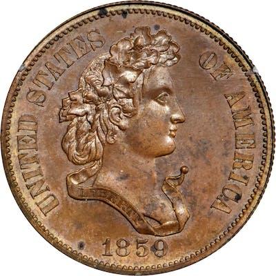 1859 Pattern Half Dollar. Judd-242, Pollock-298. Rarity-5. Copper.