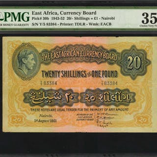 EAST AFRICA. East African Currency Board. 20 Shillings, 1943-52. P-30b.