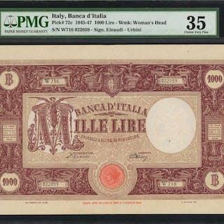 ITALY. Banca d'Italia. 1000 Lire, 1945-47. P-72c. PMG Choice Very Fine 35.