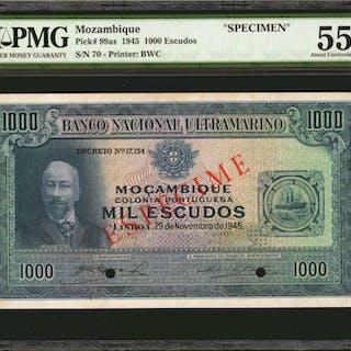 MOZAMBIQUE. Banco Nacional Ultramarino. 1000 Escudos, 1945. P-99as.