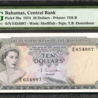 BAHAMAS. Central Bank of the Bahamas. 10 Dollars, 1974. P-38a. PMG
