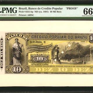 BRAZIL. Banco de Credito Popular. 10 Mil Reis, ND (ca. 1891). P-S551Ap.