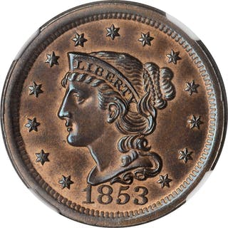 1853 Braided Hair Cent. N-14. Unc Details--Altered Color (NGC).