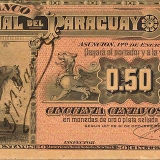 PARAGUAY. Banco Nacional del Paraguay. 50 Centavos Fuertes, 1886.