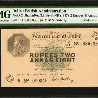 INDIA. British Administration. 2 Rupees, 8 Annas, ND (1917). P-2.