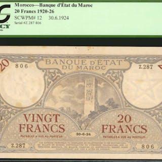 MOROCCO. Banque d'Etat du Maroc. 20 Francs, 1920-26. P-12. PCGS Currency