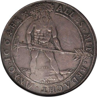 GERMANY. Brunswick-Wolfenbuttel. Taler, 1664-HS. Zellerfeld Mint.