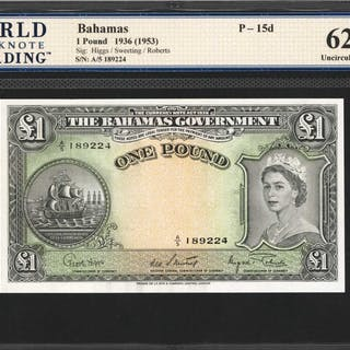 BAHAMAS. Bahamas Government. 1 Pound, 1936 (1953). P-15d. WBG Uncirculated