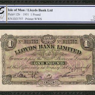 ISLE OF MAN. Lloyds Bank Ltd. 1 Pound, 1951. P-12b. PCGS GSG Choice