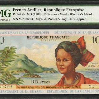 FRENCH ANTILLES. Republique Francaise. 10 Francs, ND (1964). P-8b.