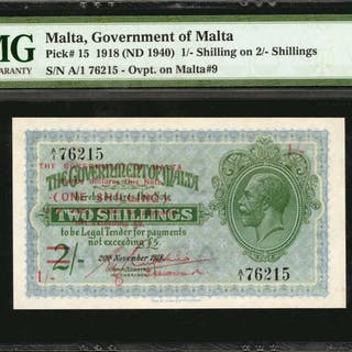MALTA. Government of Malta. 1 Shilling, 1918 (ND 1940). P-15. PMG