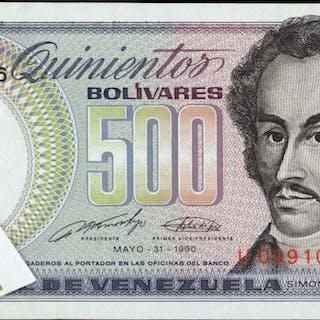 VENEZUELA. Banco Central de Venezuela. 500 Bolívares, 1990. P-67.