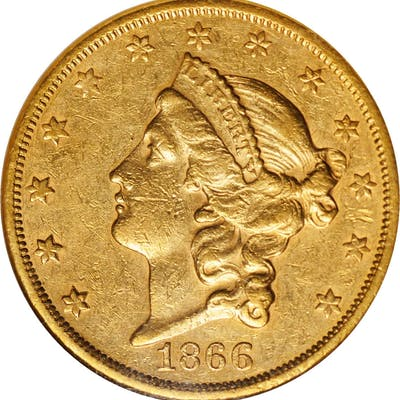 1866-S Liberty Head Double Eagle. Motto. EF-45 (NGC).