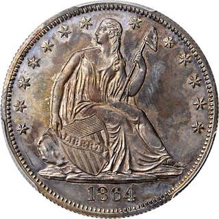 1864 Pattern Liberty Seated Half Dollar. Judd-391, Pollock-459. Rarity-7-.