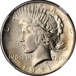 1921 Peace Silver Dollar. High Relief. MS-62 (NGC).
