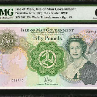 ISLE OF MAN. Isle of Man Government. 50 Pounds, ND (1983). P-39a.