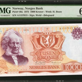 NORWAY. Norges Bank. 1000 Kroner, 1975 Issue. P-40a. PMG Choice Uncirculated