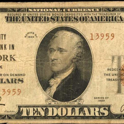 New York, New York. 1929 Ty. 2 $10 Fr. 1801-2. The Fidelity NB. Charter