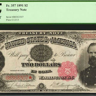 Fr. 357. 1891 $2  Treasury Note. PCGS Currency Very Fine 30.