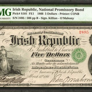 IRELAND, REPUBLIC. National Promissory Bond. 5 Dollars, 1866. P-S101.