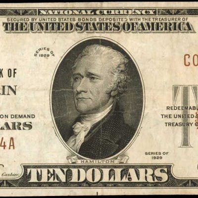 Franklin, New York. 1929 Ty. 1 $10 Fr. 1801-1. The First NB. Charter