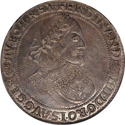 HUNGARY. Taler, 1658-KB. Kremnica Mint. Ferdinand III. NGC AU-58.