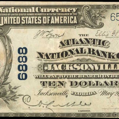 Jacksonville, Florida. $10 1902 Plain Back. Fr. 624. The Atlantic