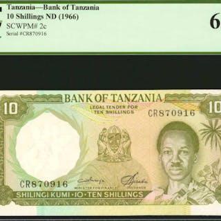 TANZANIA. Bank of Tanzania. 10 Shillings, ND (1966). P-2c. PCGS Currency