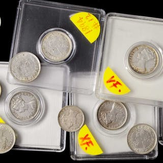 HONG KONG. Group of Silver 5 and 10 Cents (22 Pieces), 1863-1901.