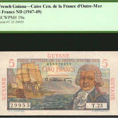 FRENCH GUIANA. Caise Cen. de la France d'Outre-Mer. 5 Francs, ND (1947-49).