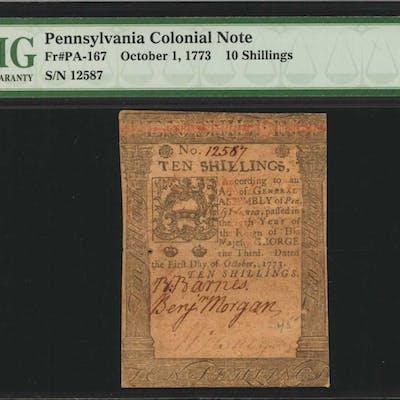 PA-167. Pennsylvania. October 1, 1773. 10 Shillings. PMG Choice Fine 15.