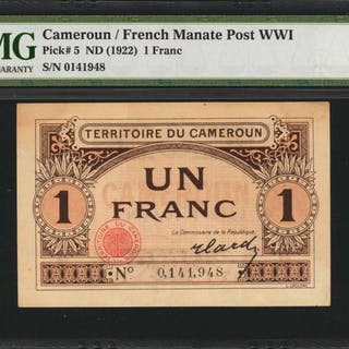 CAMEROON. Territoire du Cameroun. 1 Franc, ND (1922). P-5. French