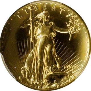 MMIX (2009) Ultra High Relief $20 Gold Coin. MS-70 PL (PCGS).