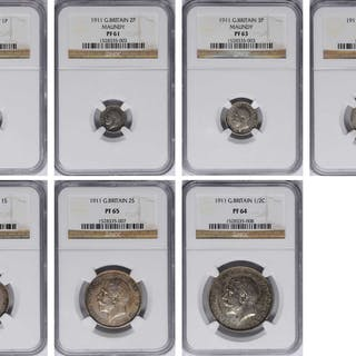 GREAT BRITAIN. Partial Silver Proof Set (7 Pieces), 1911. All NGC Certified.