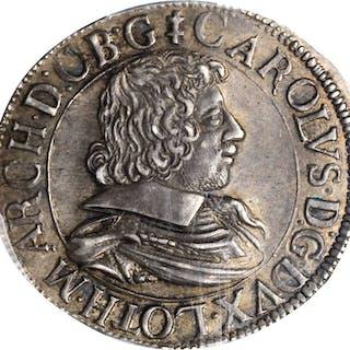 FRANCE. Lorraine. Teston, 1628/7. Karl III. PCGS MS-62 Gold Shield.