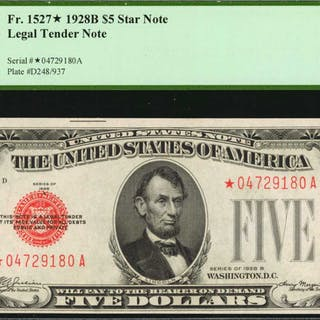 Fr. 1527*. 1928B $5 Legal Tender Star Note. PCGS Currency Choice New 63 PPQ.