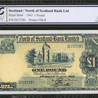 SCOTLAND. North of Scotland Bank Ltd. 1 Pound, 1945. P-S644. PCGS