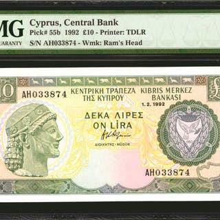 CYPRUS. Central Bank of Cyprus. 10 Pounds, 1992. P-55b. PMG Superb