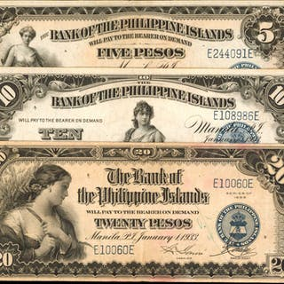 PHILIPPINES. Bank of the Philippine Islands. 5, 10 & 20 Pesos, 1933.
