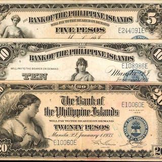 PHILIPPINES. Bank of the Philippine Islands. 5, 10 & 20 Pesos, 1933.