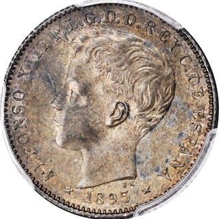 PUERTO RICO. 20 Centavos, 1895-PG V. Alfonso XIII. PCGS AU-58 Gold Shield.