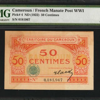 CAMEROON. Territoire du Cameroun. 50 Centimes, ND (1922). P-4. French