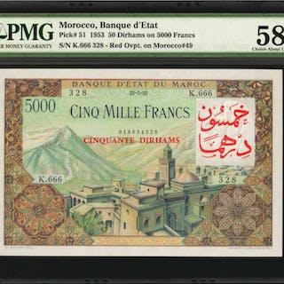MOROCCO. Banque d'Etat du Maroc. 50 Dirhams on 5000 Francs, 1953.