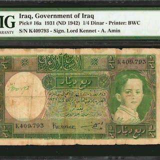IRAQ. Government of Iraq. 1/4 Dinar, 1931 (ND 1942). P-16a. PMG Fine 12.