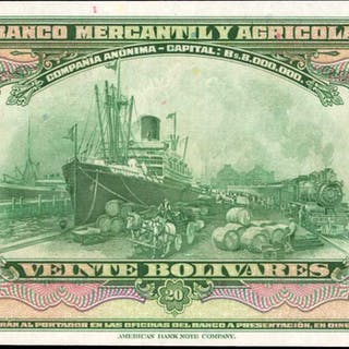 VENEZUELA. Banco Mercantil y Agricola. 20 Bolivares, 1929. P-S232.