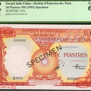 FRENCH INDO-CHINA. Institut d'Emission des Etats. 10 Piastres, ND