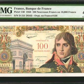 FRANCE. Banque de France. 100 Nouveaux Francs, 1958. P-140. PMG Extremely