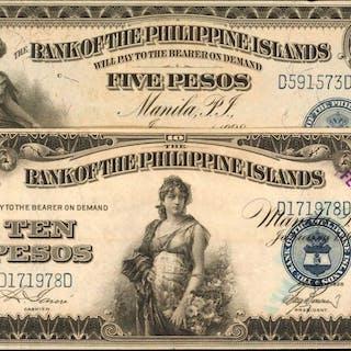 PHILIPPINES. Bank of the Philippine Islands. 5 & 10 Pesos, 1928. P-16