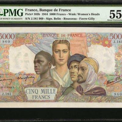 FRANCE. Banque de France. 5000 Francs, 1944. P-103b. PMG About Uncirculated 55.